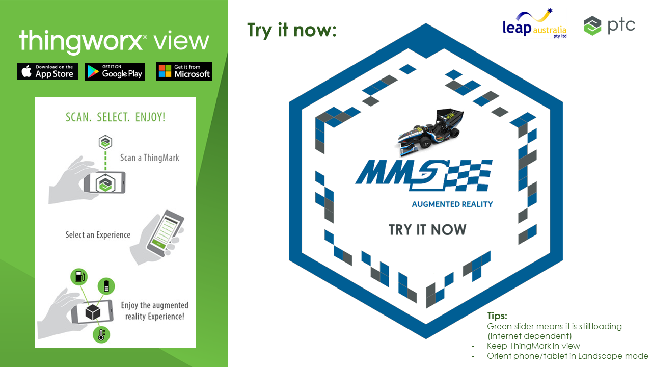 ThingWorx Augmented Reality experiences of MMS FSAE Vehicles